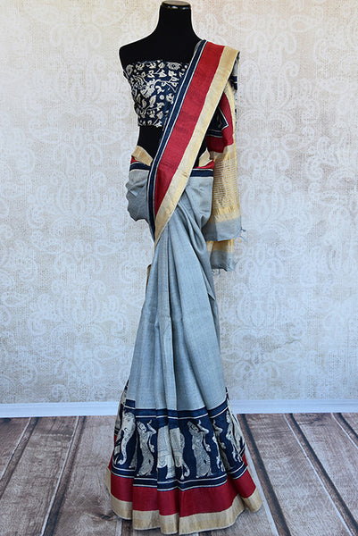 Blue and black matka silk saree with gold border. Stylish collection for Indian wardrobe-full view