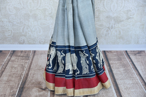 Blue and black matka silk saree with gold border. Stylish collection for Indian wardrobe-pleats