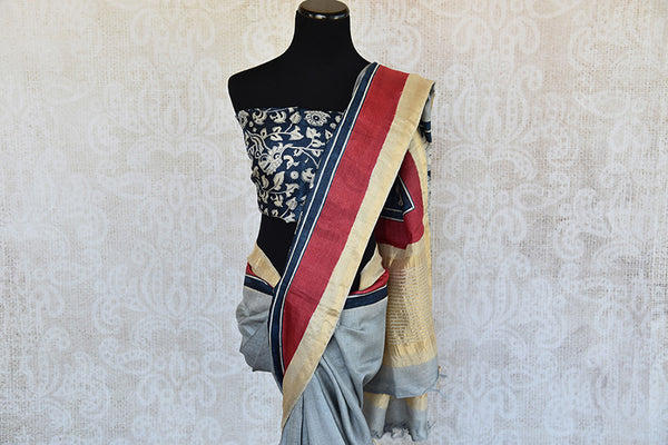 Blue and black matka silk saree with gold border. Stylish collection for Indian wardrobe-pallu