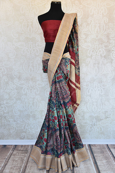 Buy this gorgeous blue linen Indian saree with floral print and gold border with red linen blouse piece from Pure Elegance online. Great for festive occasions-Full View