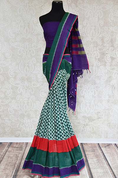 Ikkat printed multicolor cotton sari with Purple border and comes with purple blouse piece.-full view