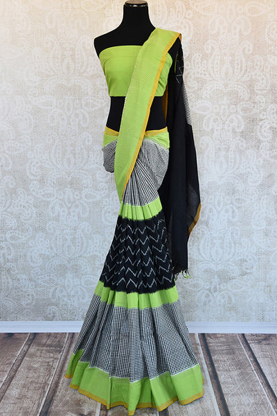 Elegant Black cotton ikkat saree with green border and blouse from in store and online. Enhance your look in casual Indian parties.-Full view