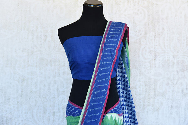 Green cotton ikkat saree with blue border and pallu.Traditional as well as modern sari for summer.-blue and white pallu