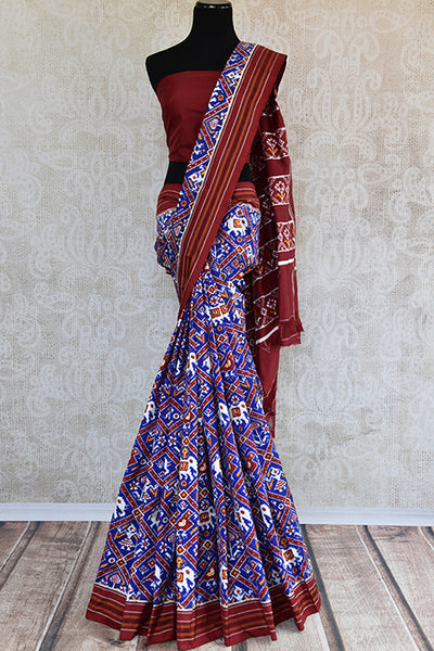 Classically gorgeous double ikkat silk patola saree.Stunning eye catching saree perfect for Indian weddings events and festivals. -full view