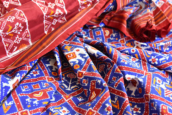 90D965 Classic Blue And Maroon Double Ikkat Patola Saree Online