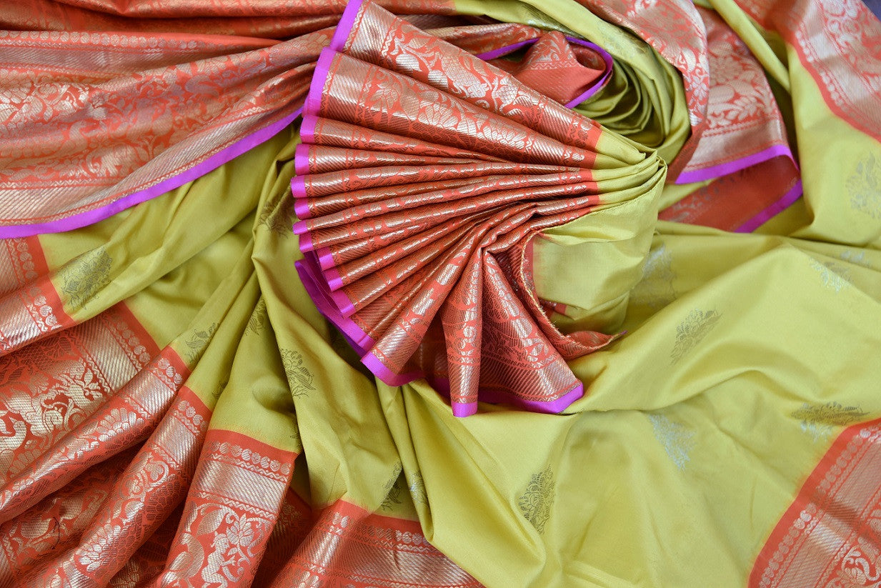 90D968 Indian Yellow Saree With Red Pallu and Border