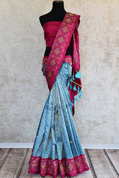 Blue and pink Kanchi ikkat pan patola silk sare. Perfect ethnic party saree for Indian wedding events.-full view
