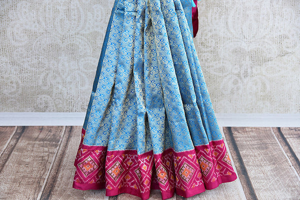 Blue and pink Kanchi ikkat pan patola silk sare. Perfect ethnic party saree for Indian wedding events.- pleats