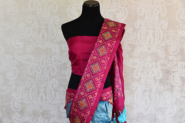 Blue and pink Kanchi ikkat pan patola silk sare. Perfect ethnic party saree for Indian wedding events.-pallu
