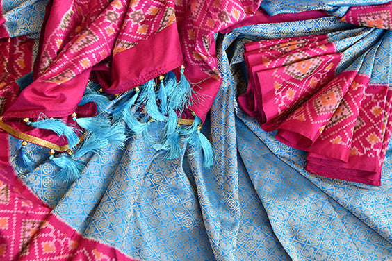 Blue and pink Kanchi ikkat pan patola silk sare. Perfect ethnic party saree for Indian wedding events.-close up