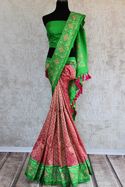 Pink-red and green Kanchi ikkat silk saree. Perfect ethnic party saree for Indian wedding events.-full view