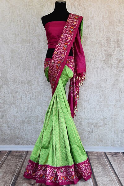 Traditional green and pink kanjivaram silk ikkat Saree. Perfect Party saree for wedding occasion. -full view