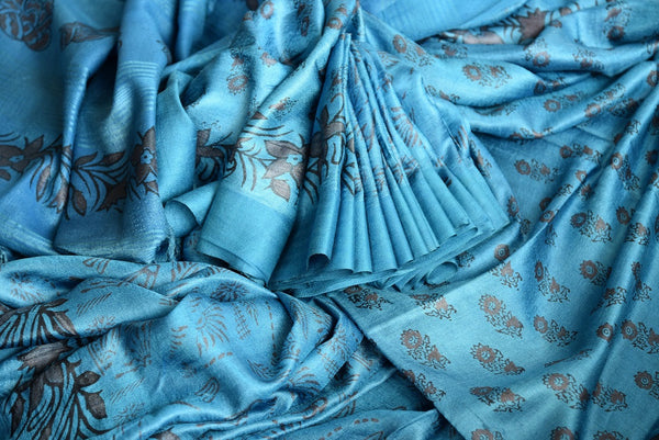 Buy blue printed black Pashmina silk sari online in USA. Browse through a fine collection of woven Pashmina silk sarees online for Indian women in USA.-details