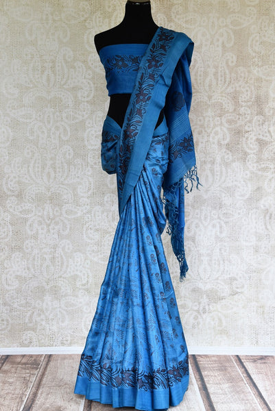 Buy blue printed black Pashmina silk sari online in USA. Browse through a fine collection of woven Pashmina silk sarees online for Indian women in USA.-full view