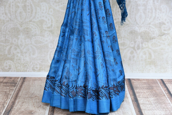 Buy blue printed black Pashmina silk sari online in USA. Browse through a fine collection of woven Pashmina silk sarees online for Indian women in USA.-pleats