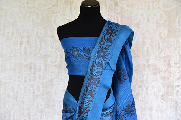 Buy blue printed black Pashmina silk sari online in USA. Browse through a fine collection of woven Pashmina silk sarees online for Indian women in USA.-pallu