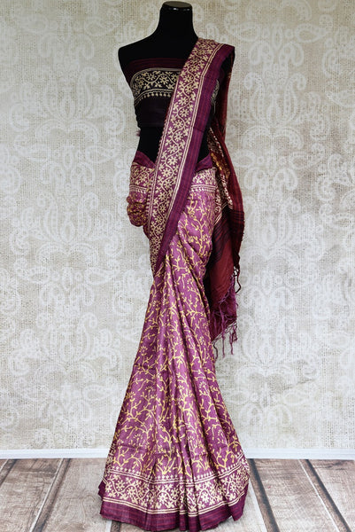 Buy graceful purple printed Pashmina silk saree online in USA. Browse through a rich collection of woven Pashmina silk sarees online for Indian women in USA.-full view