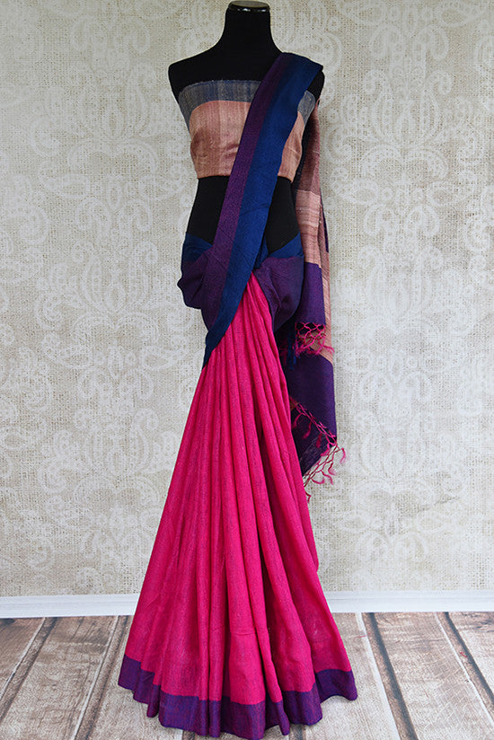 Pink Khaddi pashmina saree with purple border and pallu. Ethnic and elegant saree perfect for all.-full view