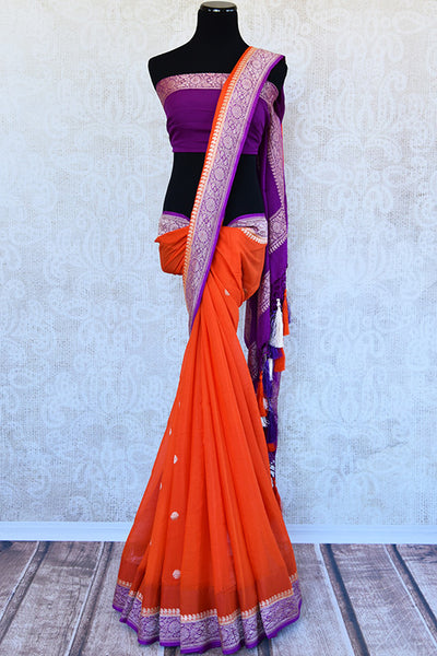 Classic color combination of orange and purple in georgette banarasi saree. Perfect sari for festivals.-full view