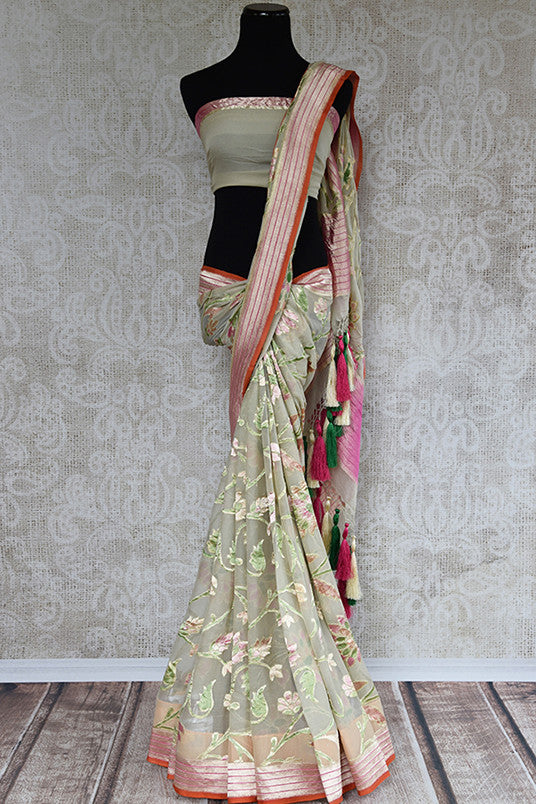 Sage green authentic georgette banarasi saree. This is must have saree for Indian wardrobe and perfect in wedding parties.-full view
