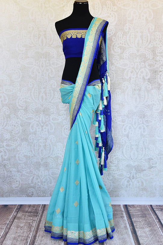 Classic color combination of Light blue and royal blue in georgette banarasi saree. Ideal saree for festivals, pujas.- Full view