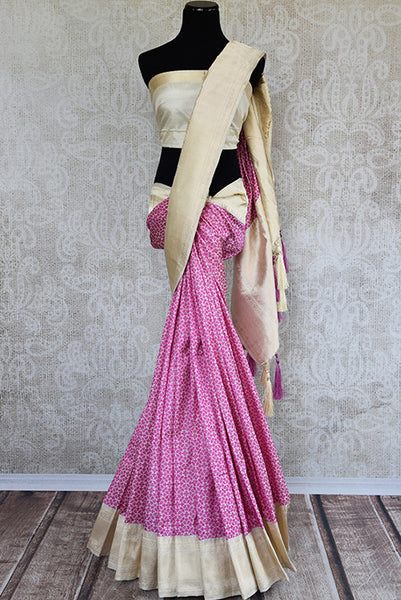 Pink and gold banarasi silk sari with resham zari work on border and pallu. Ethnic feel with modern look.-full view