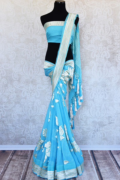 Very modern look blue georgette banarasi saree. Ethnic saree with glamourous feel in Indian evening parties.-full view