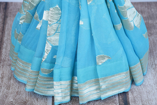 Very modern look blue georgette banarasi saree. Ethnic saree with glamourous feel in Indian evening parties.-pleats and border