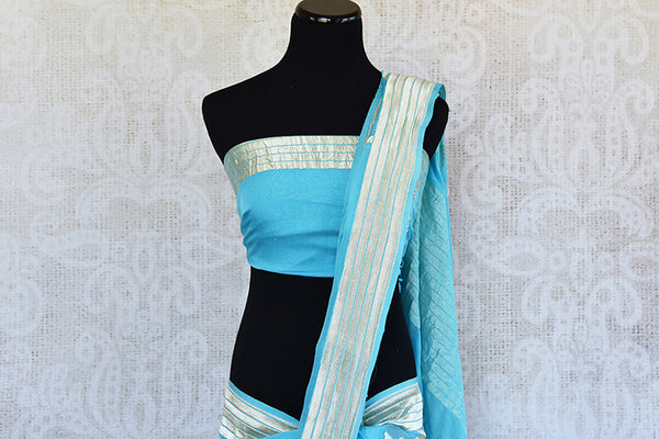 Very modern look blue georgette banarasi saree. Ethnic saree with glamourous feel in Indian evening parties.-pallu