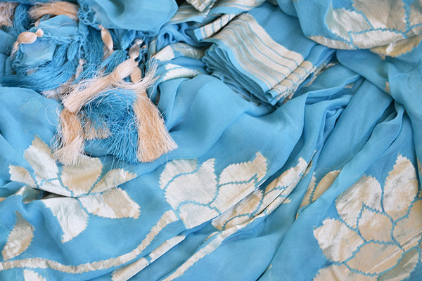 Very modern look blue georgette banarasi saree. Ethnic saree with glamourous feel in Indian evening parties.-close up