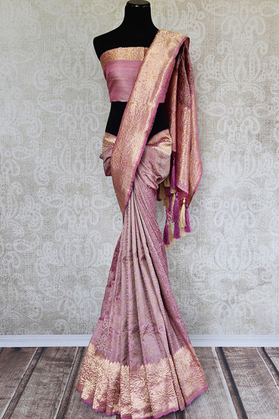 Classic pink banarasi silk saree with resham zari work border and pallu. Perfect ethnic saree with glamorous look. Ideal in festivals.-full view