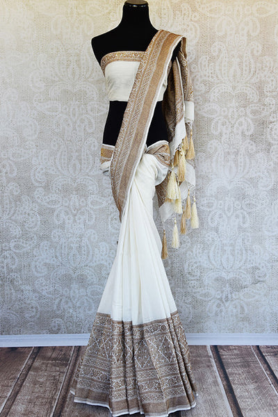White muga banarasi pure handloom saree. Ethnic saree perfect for Indian pujas, festivals and in weddings.-full view
