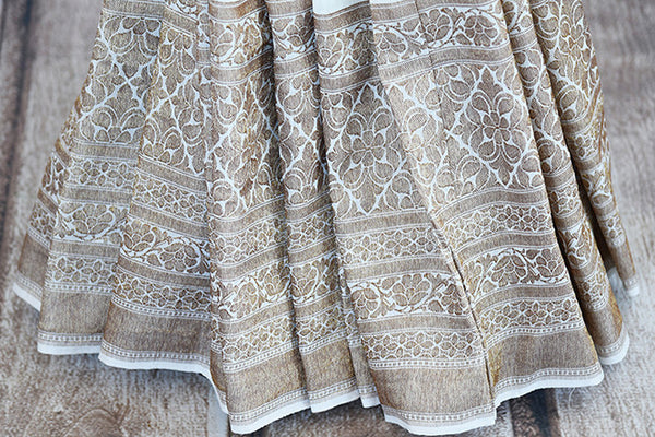 White muga banarasi pure handloom saree. Ethnic saree perfect for Indian pujas, festivals and in weddings.-banarasi weave