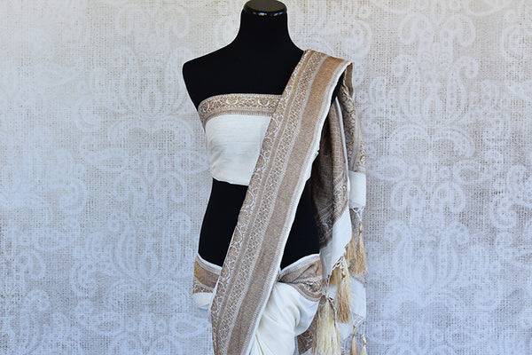 White muga banarasi pure handloom saree. Ethnic saree perfect for Indian pujas, festivals and in weddings.-pallu and blouse