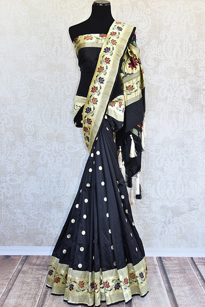 Black and gold banarasi silk saree with paithani border. Perfect party wear saree and must have for weddings.-full view