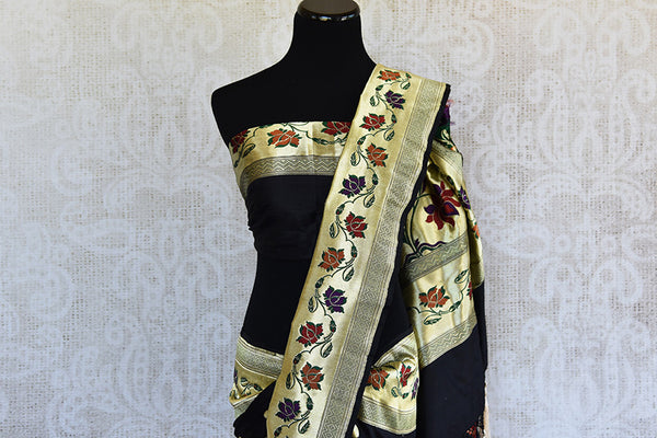 Black and gold banarasi silk saree with paithani border. Perfect party wear saree and must have for weddings.-pallu