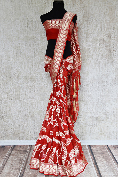 Red and gold georgette banarasi saree with gold jaal all over with beautiful pallu. Perfect for Indian weddings.-full view