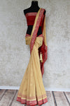 Beige and red chiffon banarasi saree. Traditional as well modern sari perfect for Indian wedding and reception.-full view