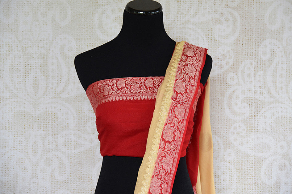 Beige and red chiffon banarasi saree. Traditional as well modern sari perfect for Indian wedding and reception.- pallu and blouse