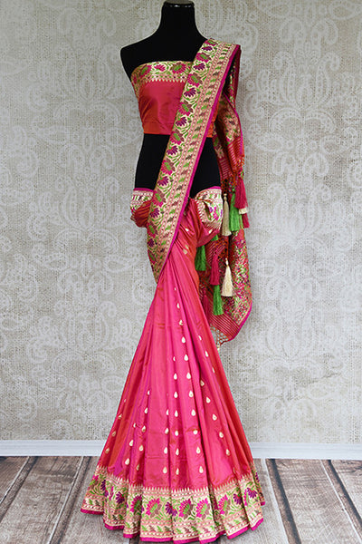 Hot pink banarasi silk sari with buta all over the body and paithani pallu and border from Indian women clothing store Pure Elegance in USA. Wedding perfect.- full view