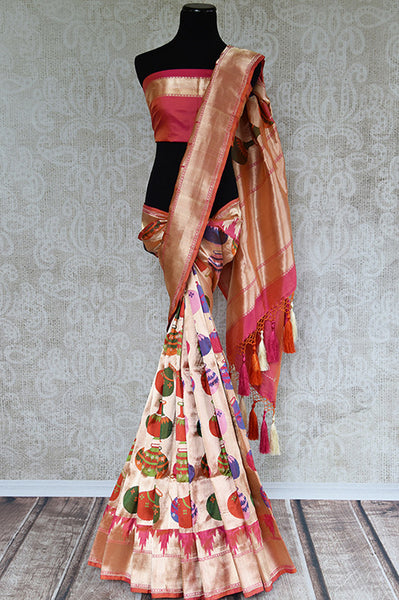 Gold banarasi saree with resham zari. Perfect glamorous party saree for Indian wedding events and festivals.-full view
