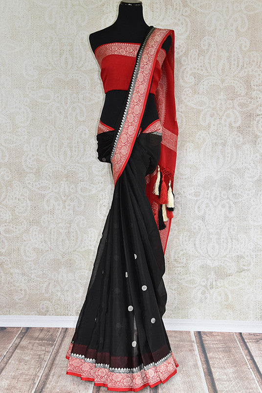 Black georgette chiffon saree with red banarasi border and pallu. Modern saree with ethnic look.-full view