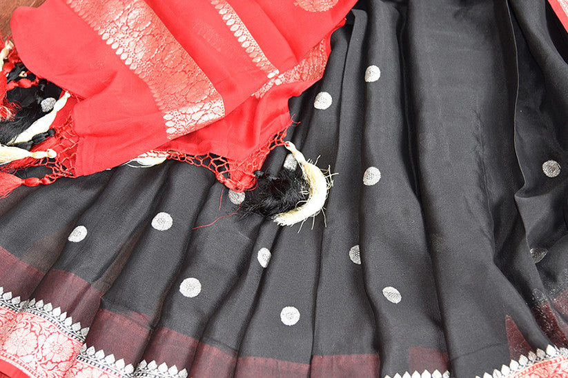 Black georgette chiffon saree with red banarasi border and pallu. Modern saree with ethnic look.-close up