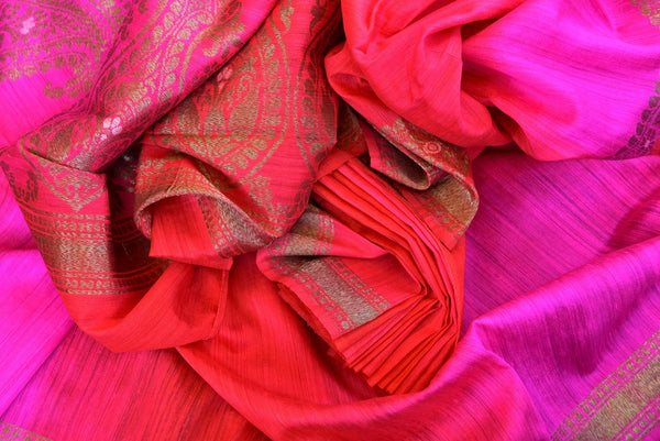 Buy this stunning red banarasi silk saree with a hint of hot pink from Pure Elegance online USA store. Great for any Indian festive occasion or event this summer. - close up