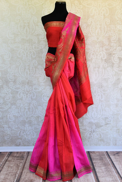 Buy this stunning red banarasi silk saree with a hint of hot pink from Pure Elegance online USA store. Great for any Indian festive occasion or event this summer. - full