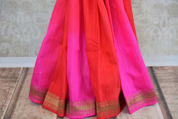 Buy this stunning red banarasi silk saree with a hint of hot pink from Pure Elegance online USA store. Great for any Indian festive occasion or event this summer. - bottom