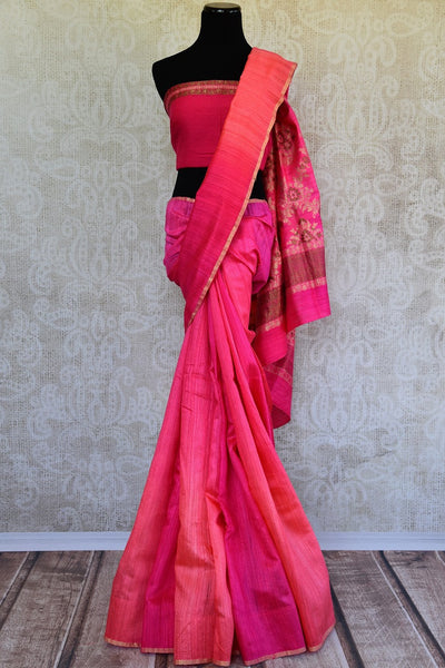 Buy this beautiful Pink banarasi silk saree with a pink blouse piece and exquisite design from Pure Elegance online or from USA store. - full