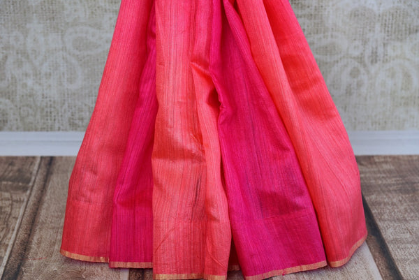 Buy this beautiful Pink banarasi silk saree with a pink blouse piece and exquisite design from Pure Elegance online or from USA store. - bottom