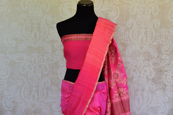 Buy this beautiful Pink banarasi silk saree with a pink blouse piece and exquisite design from Pure Elegance online or from USA store. - top