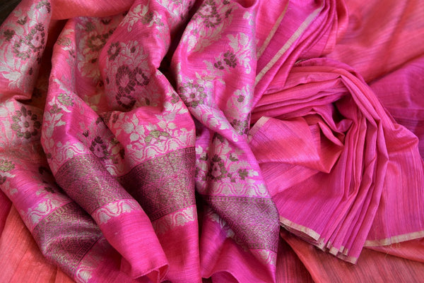 Buy this beautiful Pink banarasi silk saree with a pink blouse piece and exquisite design from Pure Elegance online or from USA store. - close up